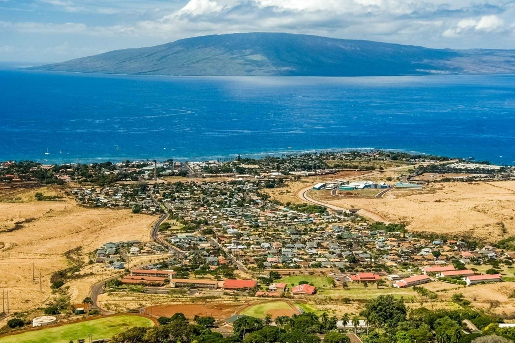 Aerial Helecopter Lahaina and Lanai Island
