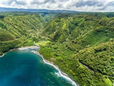 Aerial Helicopter Road to Hana Maui