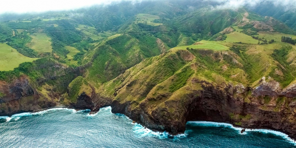 Aerial Helicopter View of Maui Coastline