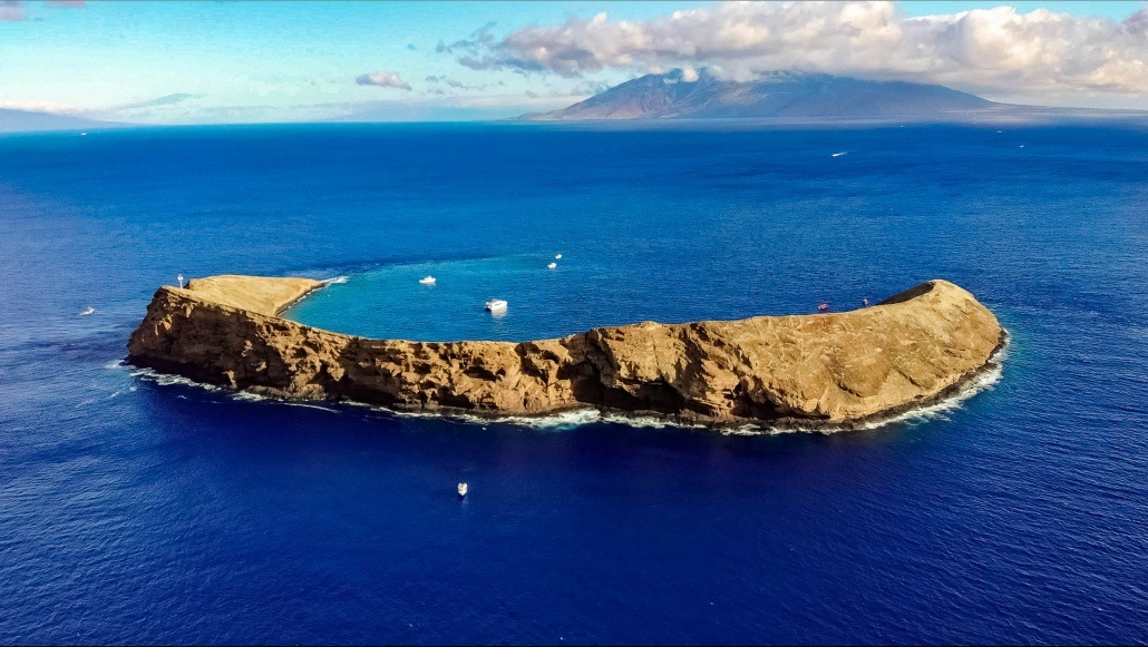 Aerial Helicopter View of Molokini Crater Maui