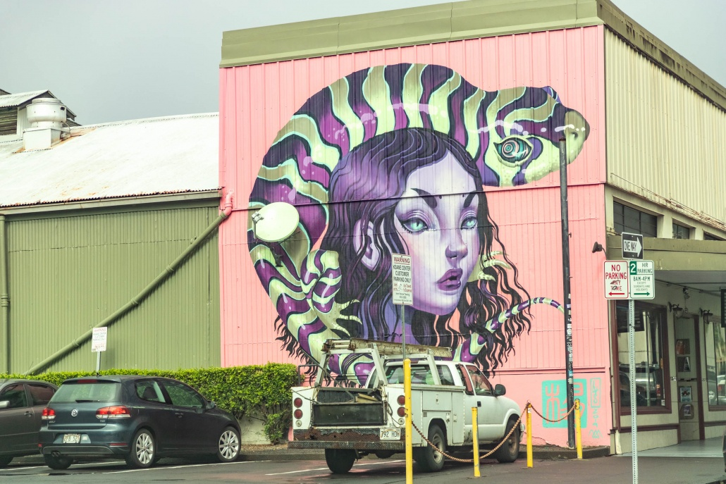 Hilo Town Building Mural Art Big Island