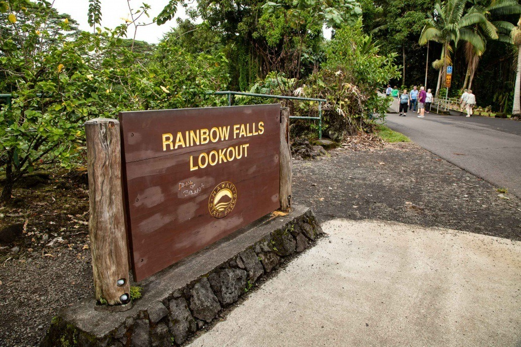 Rainbow Falls Lookout Sign Hilo Big Island
