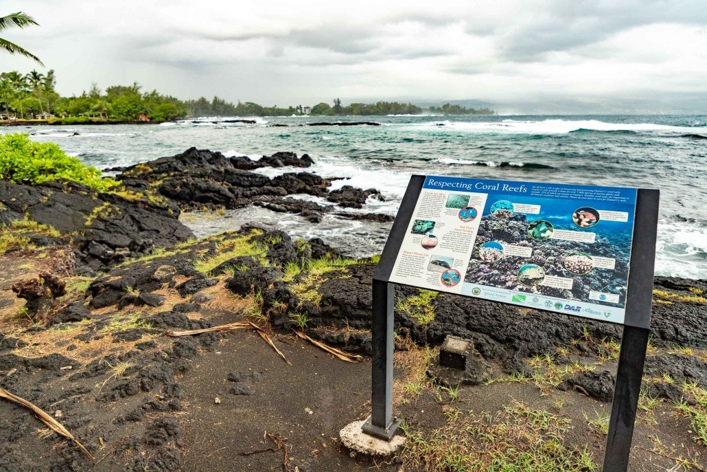 Richardson Black Sand Beach Park Sign and Coast Hilo Big Island