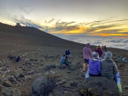 Sunset Haleakala Visitors and Telescopes Maui