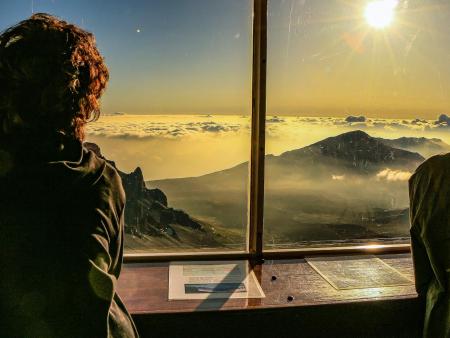 Visitors Inside Haleakala Crater Visitor Center
