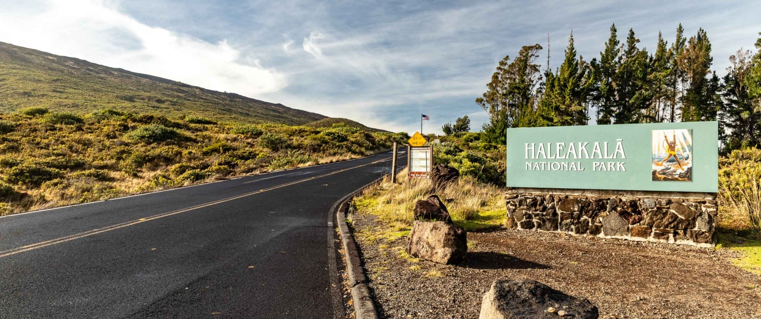 Haleakala Entrance Sign and Crater Road Maui