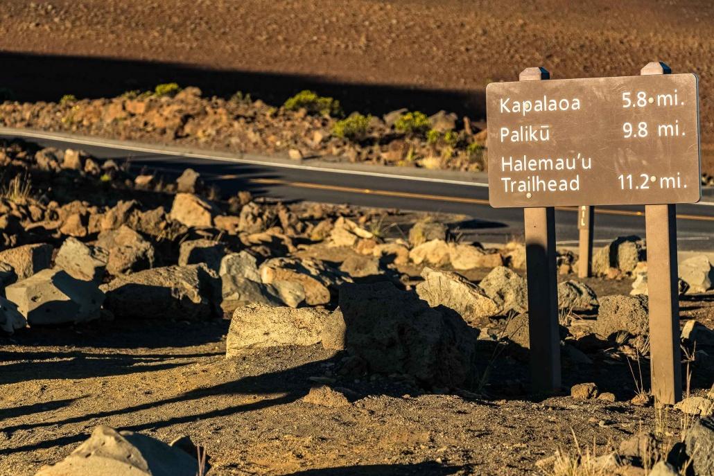Haleakala Hiking Trail Sign at Summit Maui