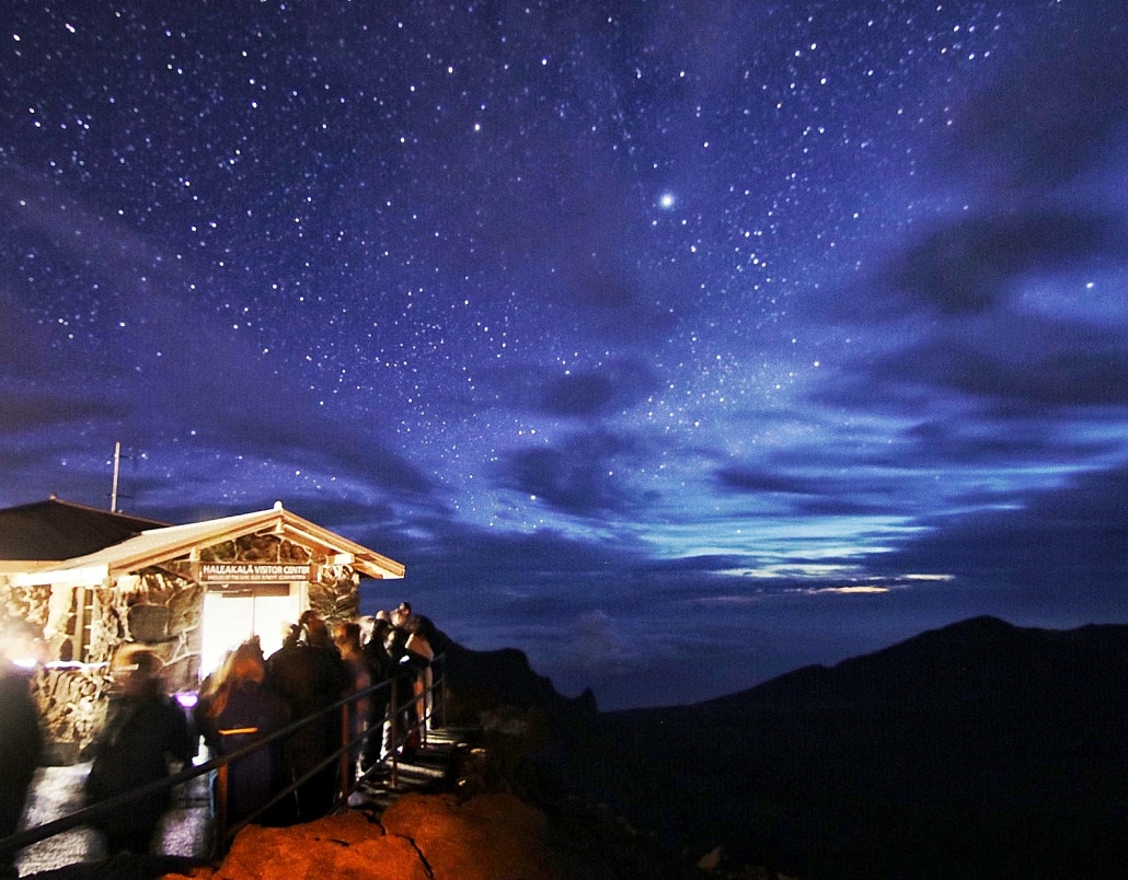 Haleakala Summit Visitor Center Night Sky Stars Maui