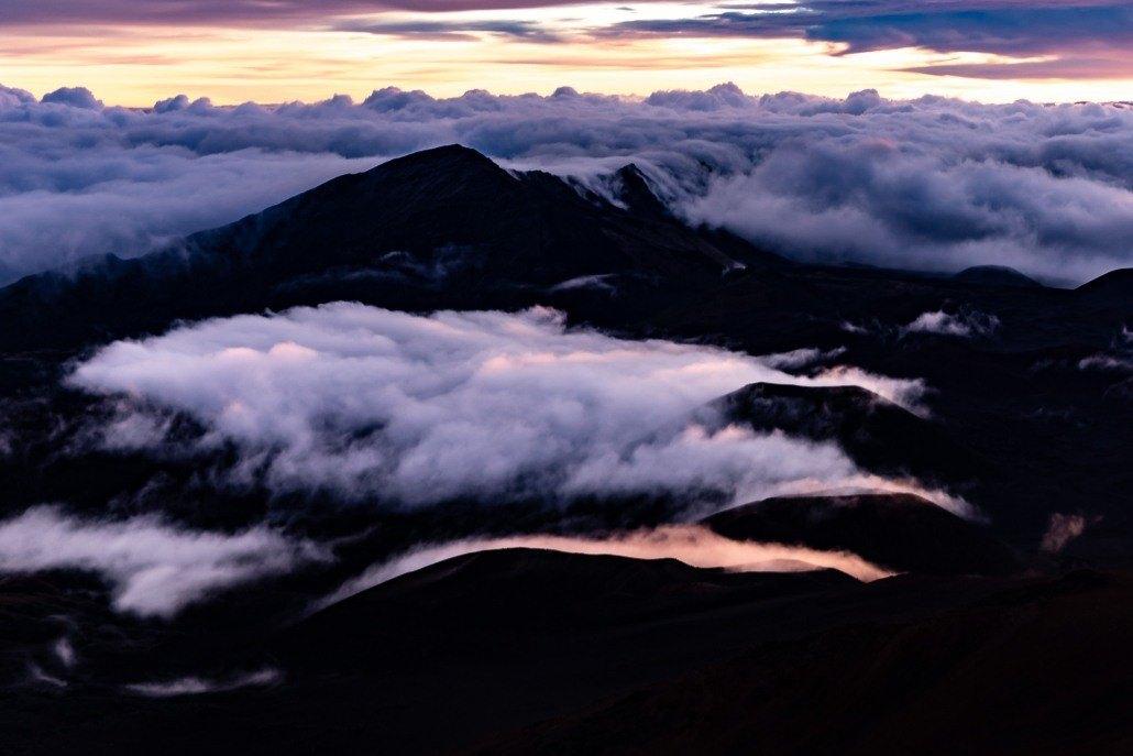 Haleakala Sunrise Crater Clouds Lighted Maui