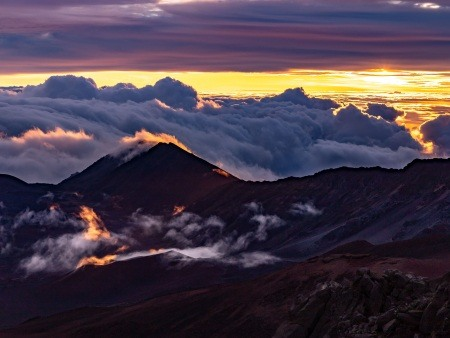Haleakala Sunrise Crater Clouds Maui