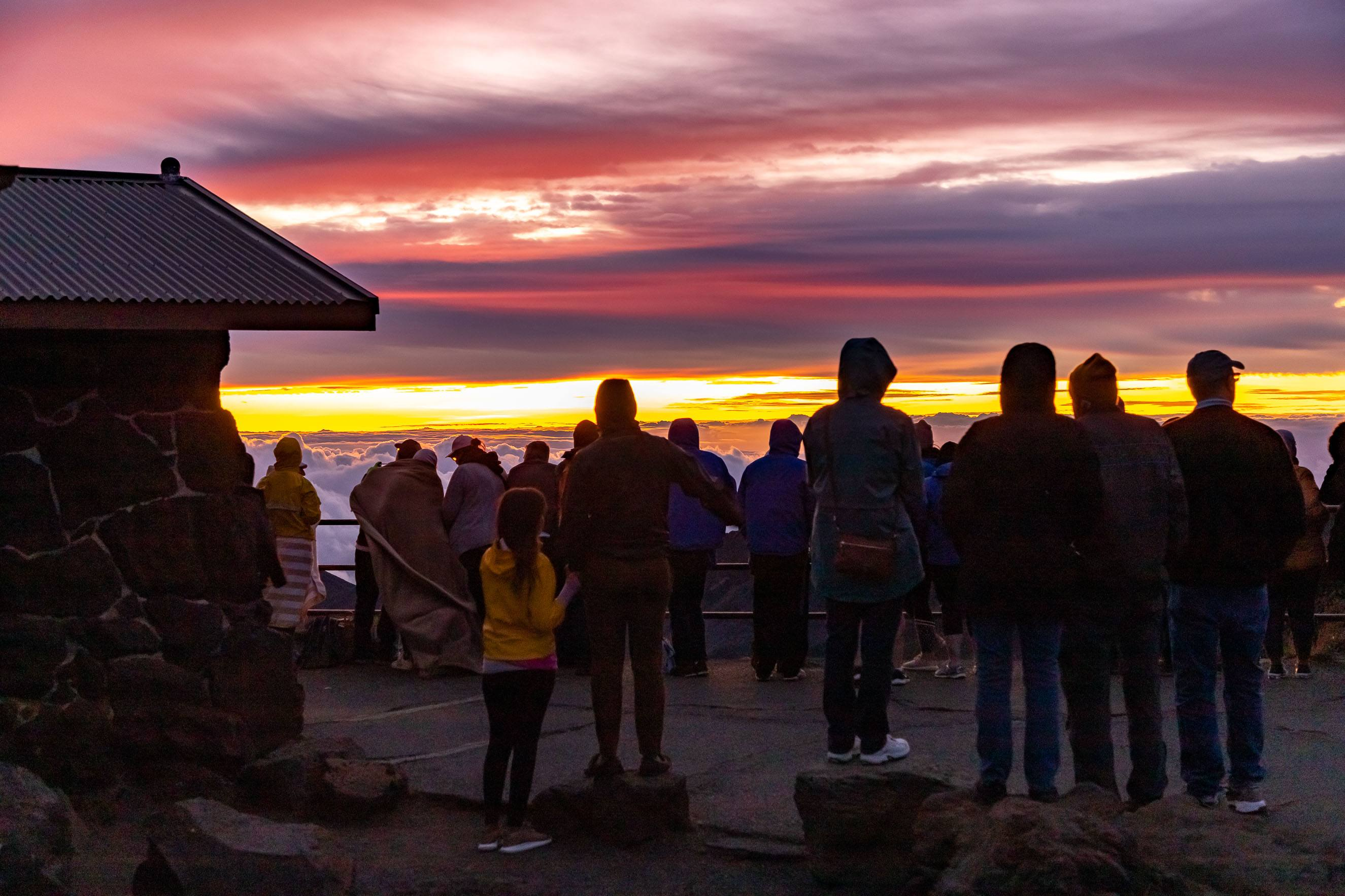 Haleakala Sunrise Crowd at Visitor Center Maui