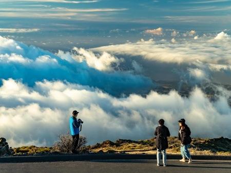 Haleakala Sunset Clouds and Visitors at Overlook Maui