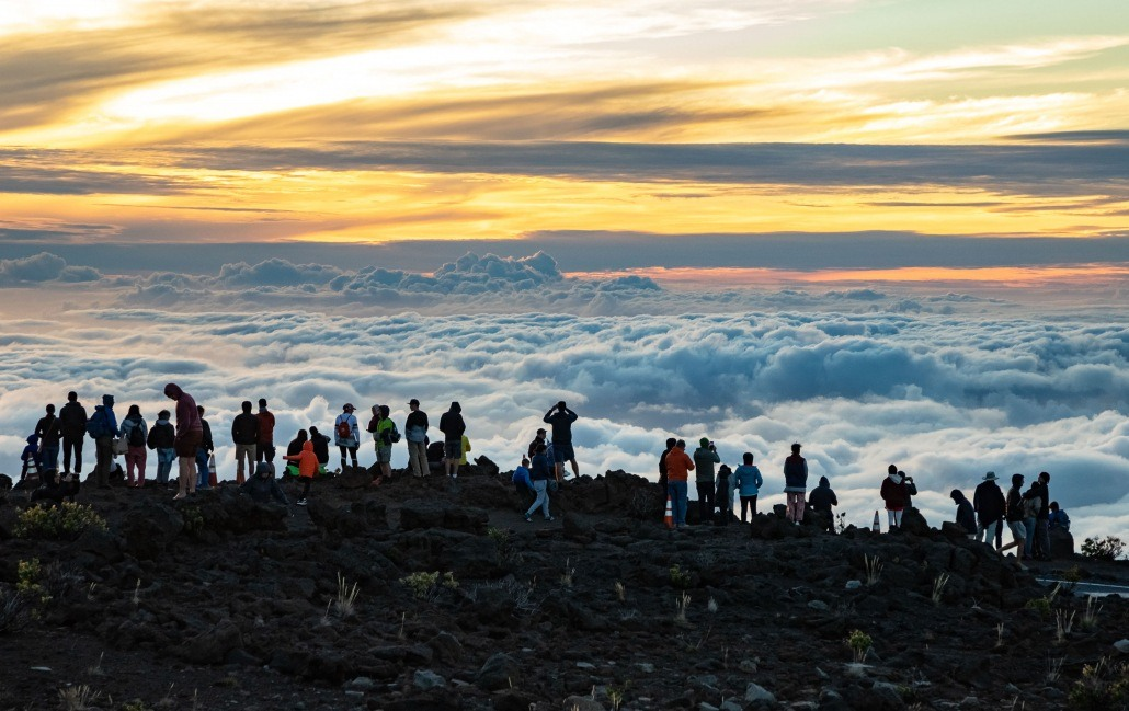 Haleakala Sunset Crowd Along Summit Road Maui