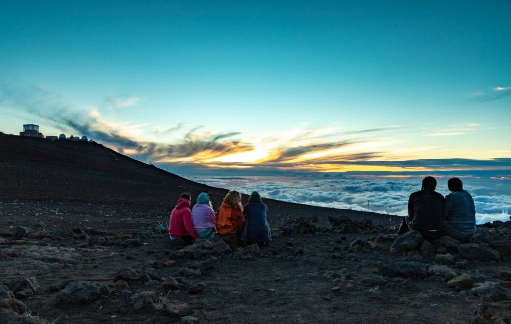 Haleakala Sunset Group of Visitors and Telescopes Maui