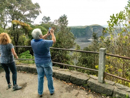 Kilauea Iki Lookout Visitors Big Island