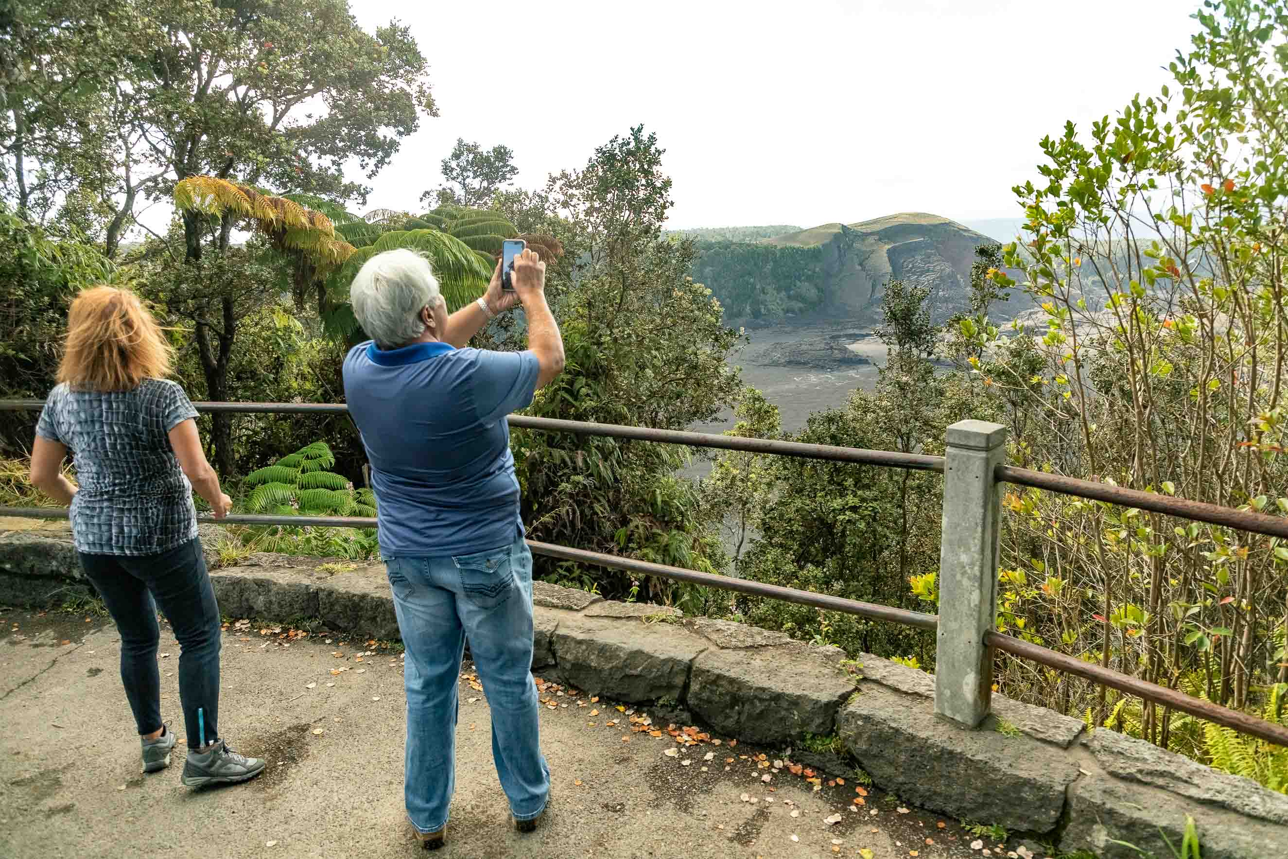 Kilauea Iki Lookout Visitors Big Island