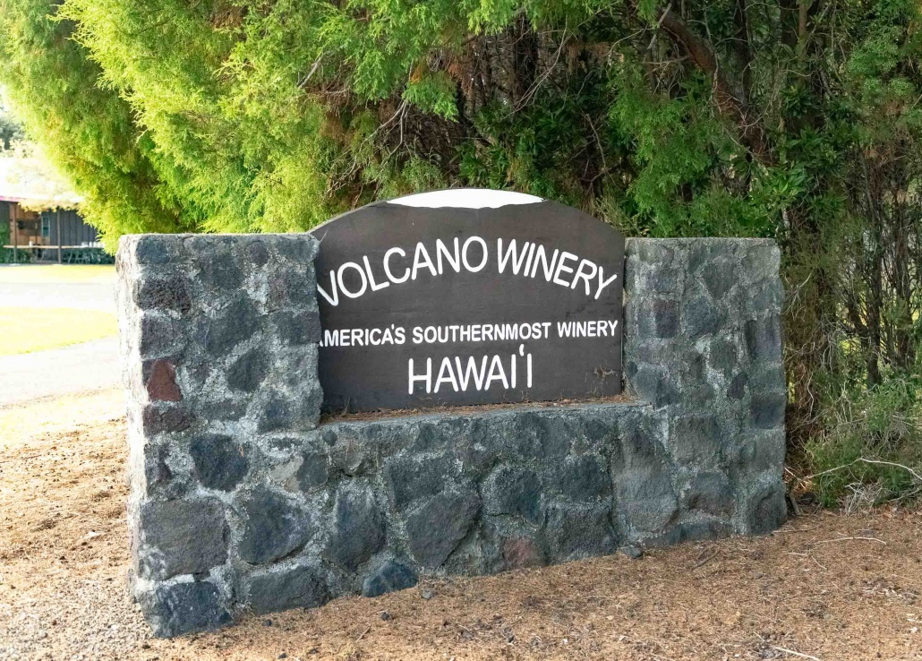 Volcano Winery Sign Big Island