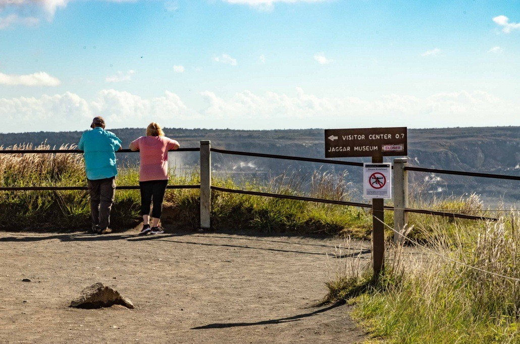 Guests Overlooking Kilauea At Steam Vents