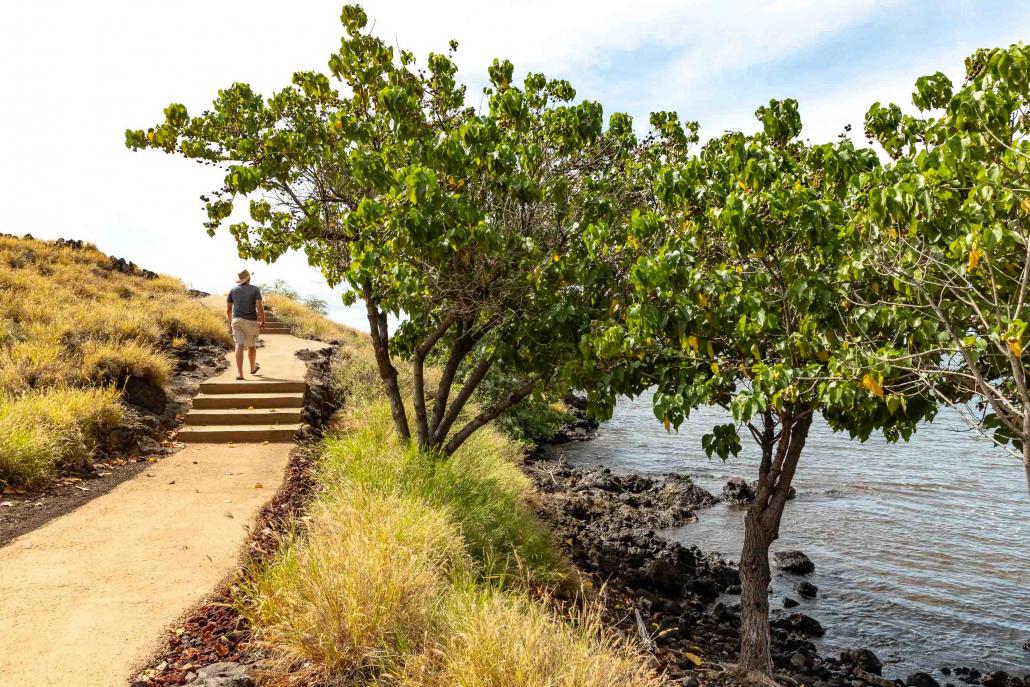 Ala Kahakai Trail and Visitor at Pu'ukohola Heiau National Historic Site Big Island Hawaii