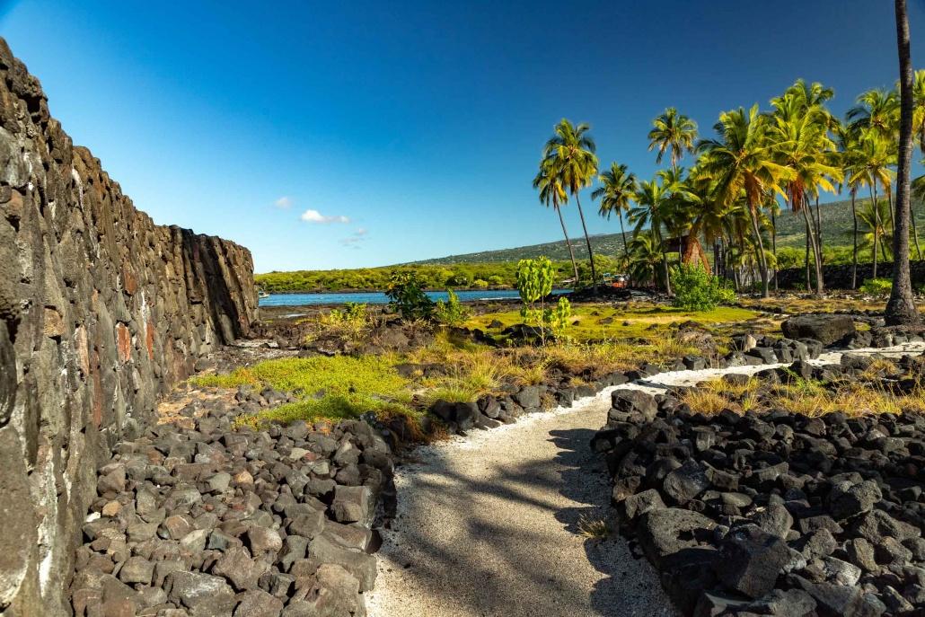 Ala Kahaki Trail and Stone Wall at Pu'uhonua O Honuanua Heiau National Historical Site Big Island Hawaii