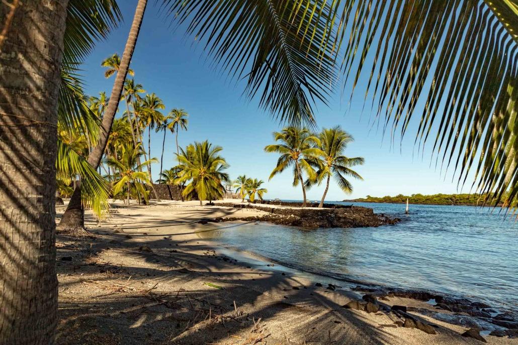 Grounds and Bay at Pu'uhonua O Honuanua Heiau National Historical Site Big Island Hawaii