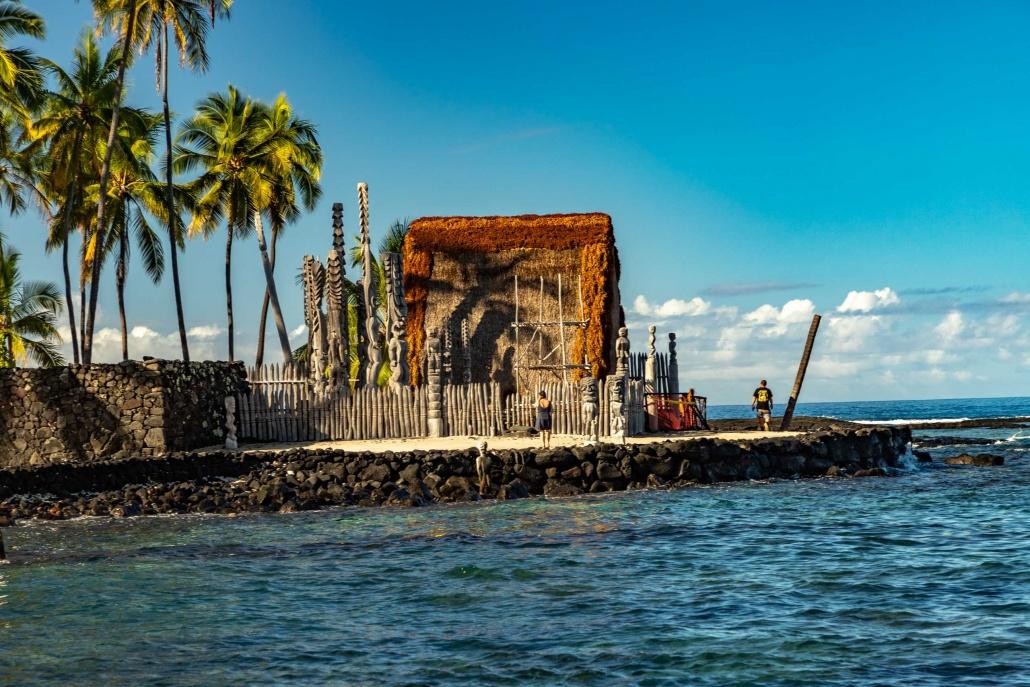 An ancient Hawaiian temple is restored along the Kona coast