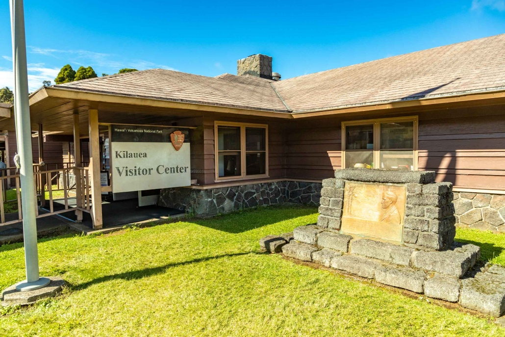 Kilauea Visitor Center entrance in Volcanoes National Park Big Island Hawaii