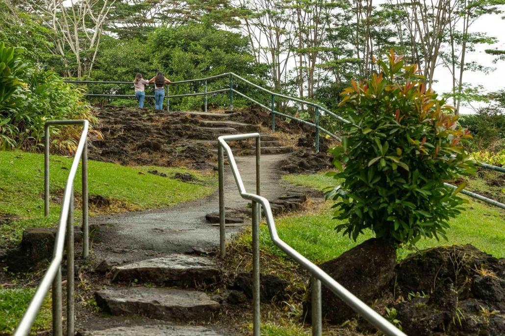 Rainbow Falls stairs to upper overlook Hilo Hawaii