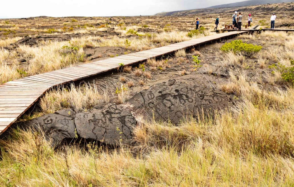 A boardwalk allows visitors to see the petroglyphs without damaging them