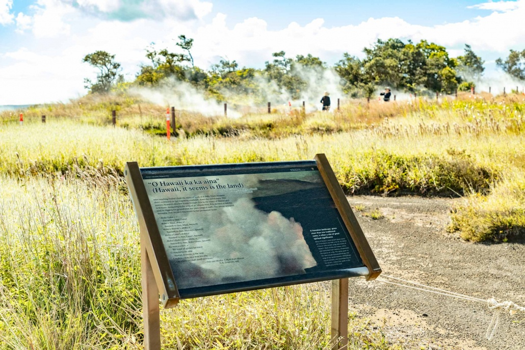 Steam Vents Info Signage along trail in Volcanoes National Park Big Island Hawaii