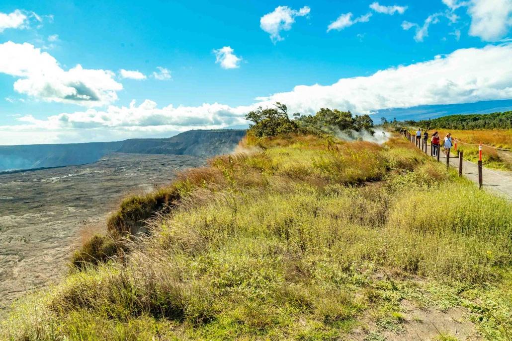 The rim trail at Kilauea affords expansive views