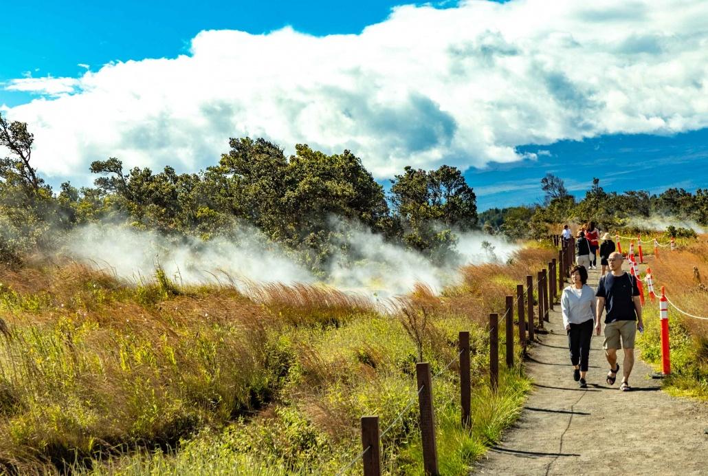 A couple hike the crater rim trail of Kilauea