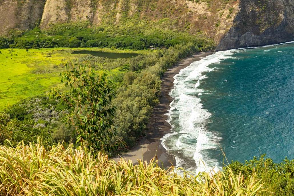 Waipio stream meets the ocean along a black sand beach